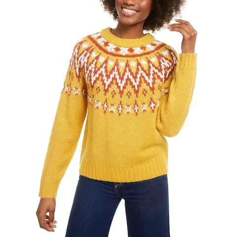 Hooked Up Juniors' Fair Isle Crewneck Sweater Yellow Size Extra Small