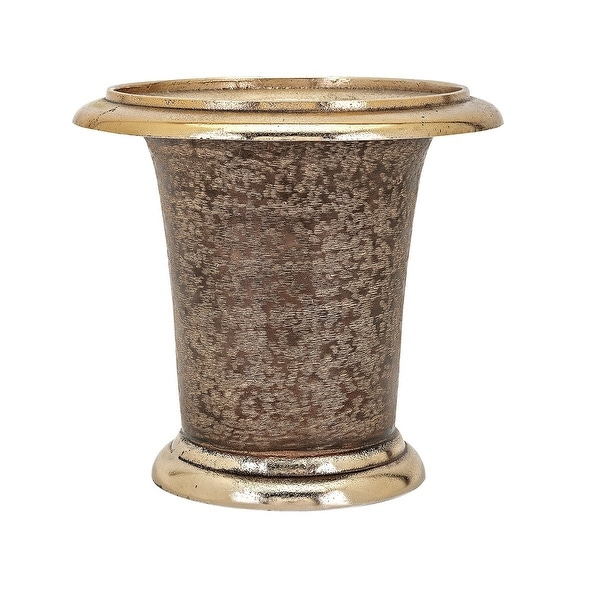 """11.5"""" Brown and Gold Colored Floral Texture Finish Cylindrical Vase - N/A"""