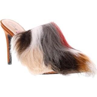 Penny Loves Kenny Women's Mojo Fur Mule Tan Microsuede/Multi Faux Fur