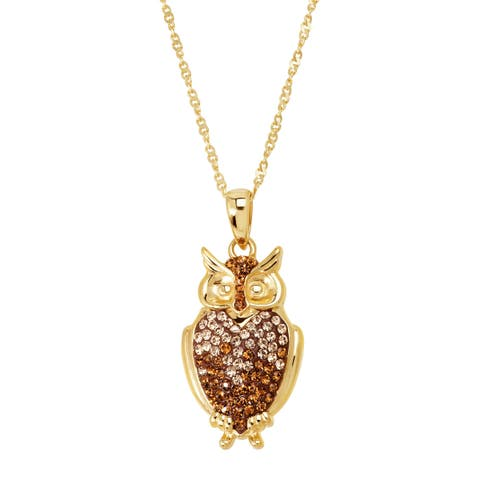 "Crystaluxe Owl Pendant with Swarovski Crystals in 18K Gold-Plated Sterling Silver, 18"" - Brown"