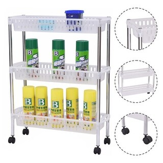 Costway 3 Layers Portable Trolley Cart Thick Serving Medical Instrument With Wheels