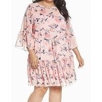 Eliza J Pink Womens Size 16W Plus Floral Bell Sleeve Shift Dress