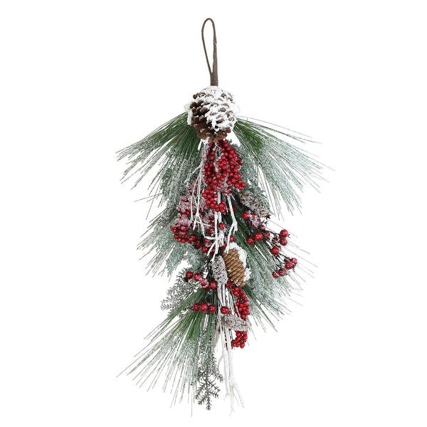 """28"""" Festive Red Berries, Pine Cones and Greenery Artificial Christmas Door Swag - green"""