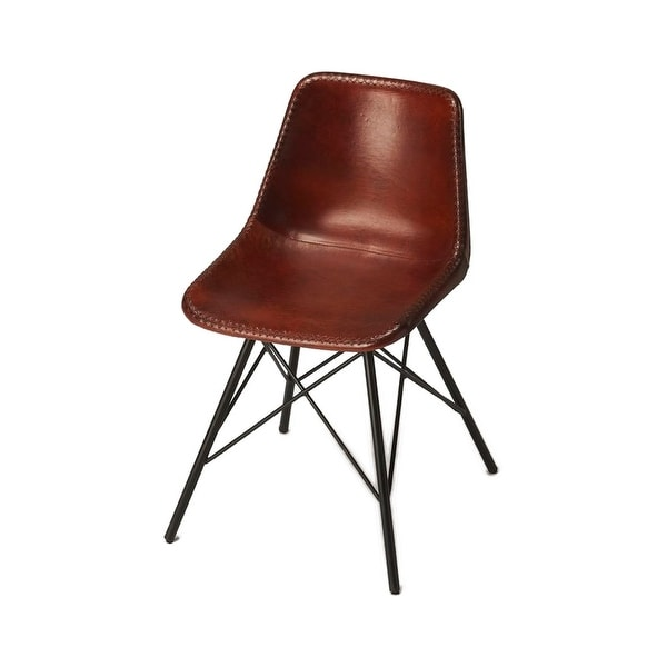 Mid Century Modern Distressed Medium Brown Leather Side Chair