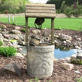 Sunnydaze American Outdoor Wishing Well Water Fountain, 49 Inch Tall