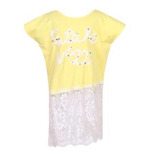 Richie House Girls' Medium Knit T-Shirt with Irregular Lace Bottom Size 6-10Y
