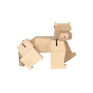 Kikkerland Square Beasts Bear Toy Figurine - Wooden Block Animal Puzzle - 8 in.