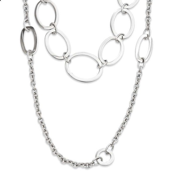 Stainless Steel Multiple Row Cirlces 28in Necklace (4 mm) - 28 in