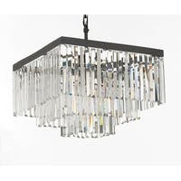 Retro Palladium Crystal Glass Fringe 3 Tier Chandelier