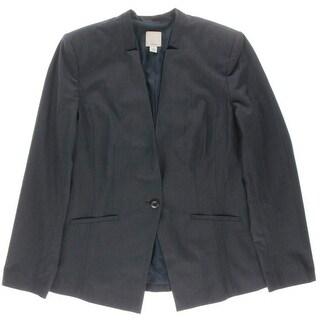 Halogen Womens Crosshatch Long Sleeve One-Button Blazer - 14