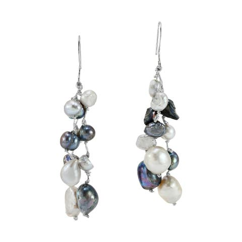 Handmade Beautiful Raceme of Glistening Freshwater Pearls Dangle Earrings (Thailand)