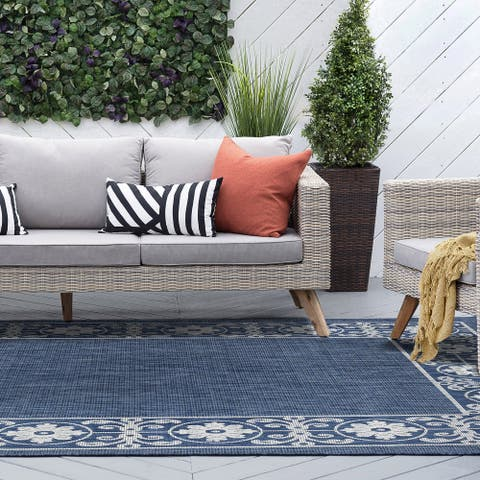 Alise Rugs Colonnade Traditional Border Indoor Outdoor Area Rug