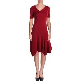 Elie Tahari Womens Dariah Asymmetric Short Sleeves Wear to Work Dress