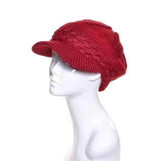 Womens Wool Knit Beanie Visor Lined