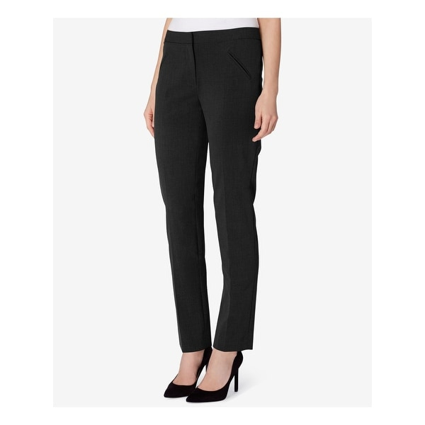 TAHARI Womens Black Straight leg Wear To Work Pants Size 16