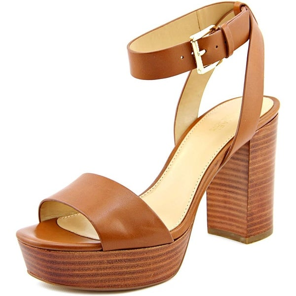 Michael Michael Kors Leonora Ankle Strap Women Leather Brown Platform Sandal