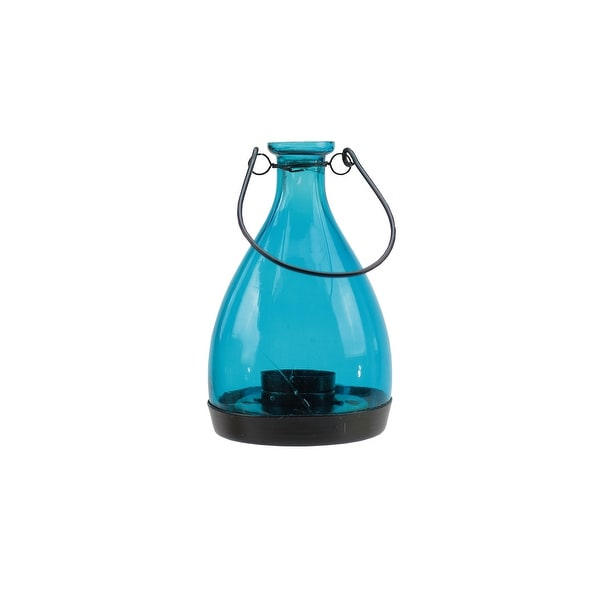 "6.25"" Transparent Blue Glass Bottle Tea Light Candle Lantern Decoration"