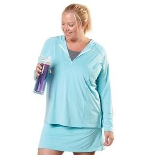 Live Life Large Womens Plus Hooded Moisture Wicking 1/4 Zip Shirt