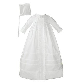Baby Boys White Cotton Satin Bonnet Bishop Christening Gown