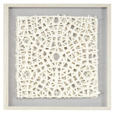 """23.5"""" White Hand-Cut Paper Abstract Art Shadow Box in Square White Frame - 24 x 1 x 24"""