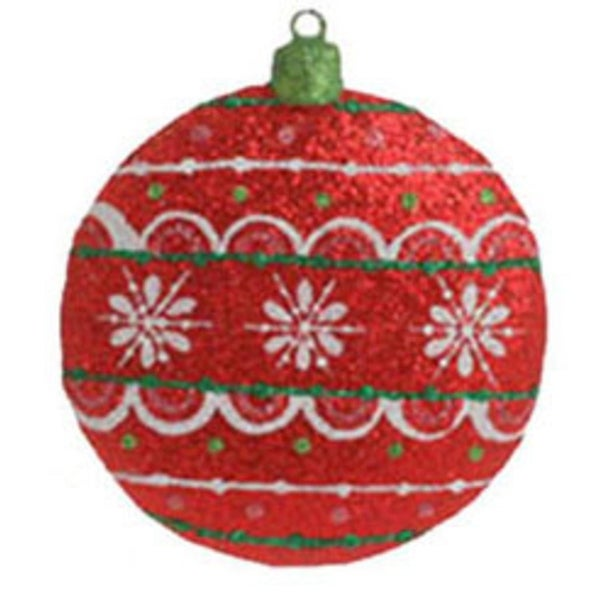 """4"""" Christmas Brites Vivid Red Glittered Disk Holiday Ornament - multi"""