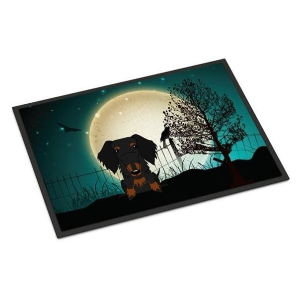 Carolines Treasures BB2317JMAT Halloween Scary Wire Haired Dachshund Black Tan Indoor or Outdoor Mat 24 x 0.25 x 36 in.