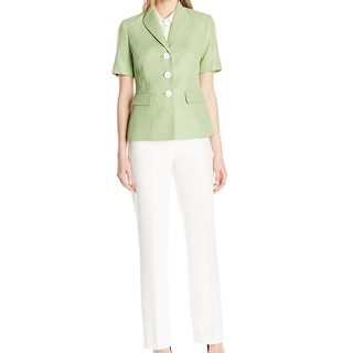 Le Suit NEW Green Women's Size 4 Textured Three Button Pant Suit