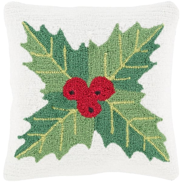 """18"""" Snow White and Leaf Green Mistletoe Deck the Halls Christmas Throw Pillow Cover"""
