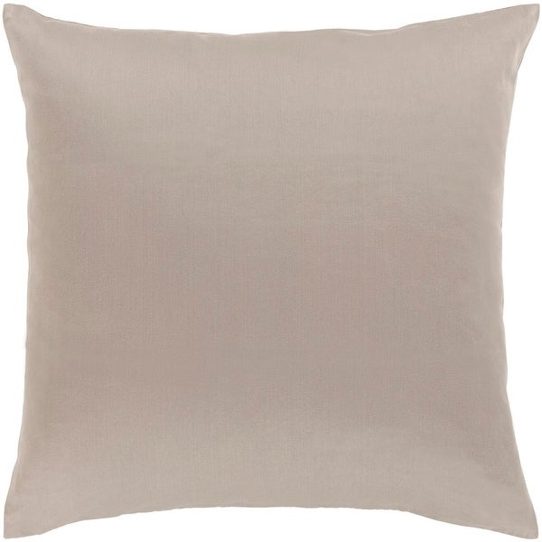 "22"" Light Gray Woven Indoor Square Throw Pillow with Sewn Seam Closure"