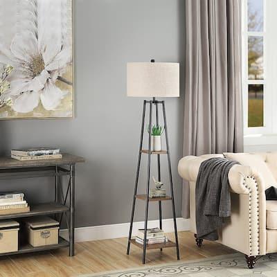 ROSEN GARDEN Floor Lamp, Standing Reading Light with Shelves and Shade