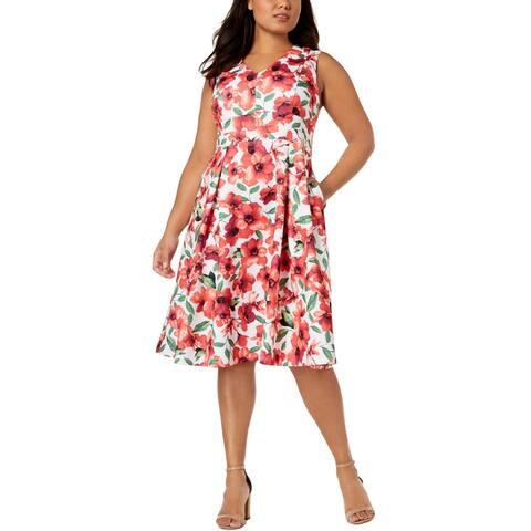 Calvin Klein Womens Plus Party Dress Sleeveless Floral