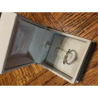 Miadora 10k White Gold 1/6ct TDW Diamond Trillium Infinity Ring