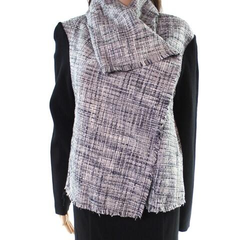 Anne Klein Black Women's Size 16 Tweed Rib Contrast Sleeve Jacket