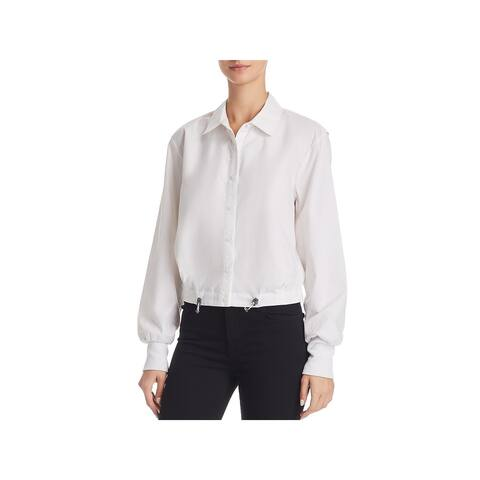 Kenneth Cole New York Womens Button-Down Top Collared Blouse