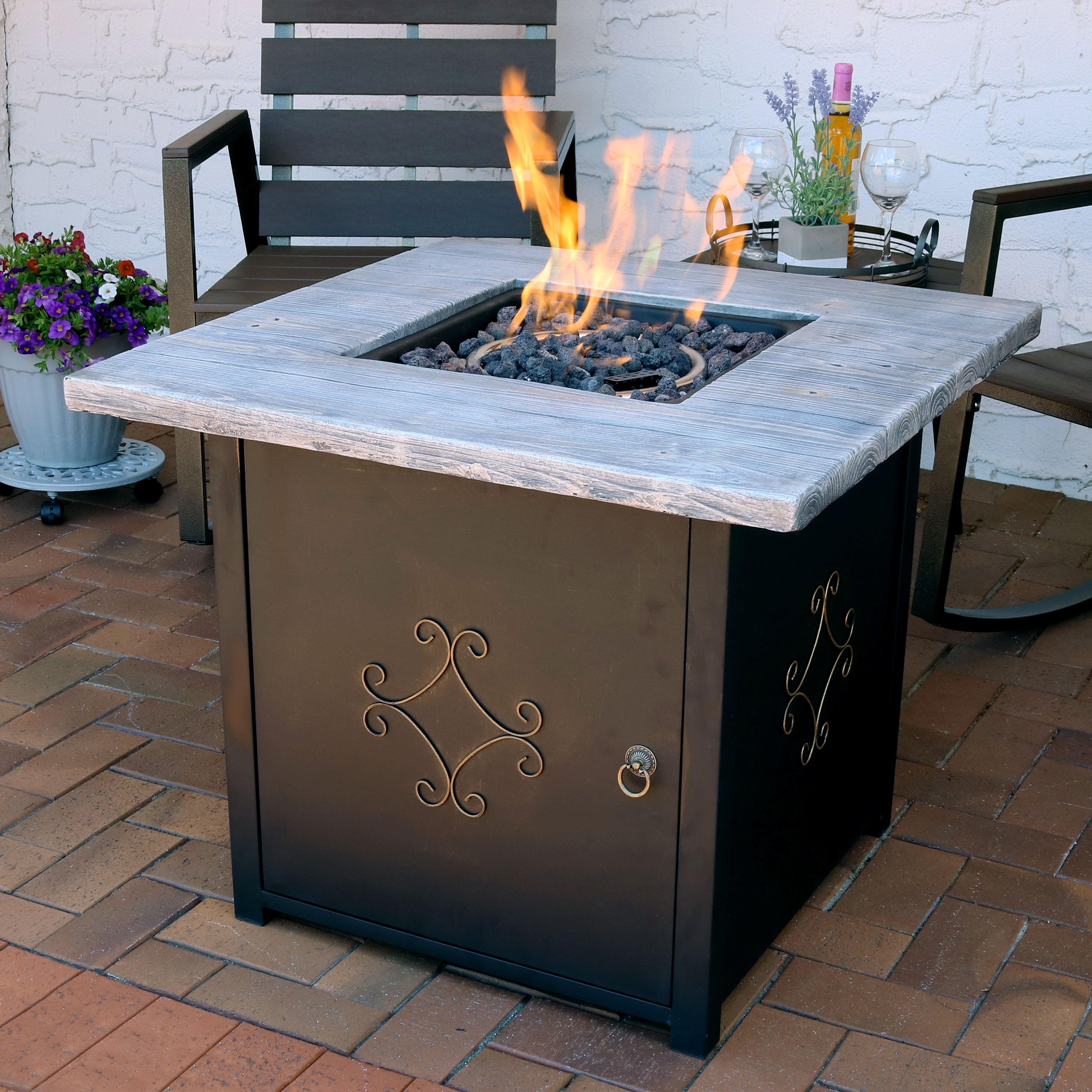 Outdoor Propane Fire Pit.Sunnydaze Square Outdoor Propane Gas Fire Pit Table With Lava Rocks 30 Inch