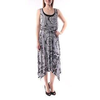 Womens Black Printed Sleeveless Knee Length Blouson Dress Size: M