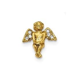 14k Gold IP Crystal Angel Tac Pin