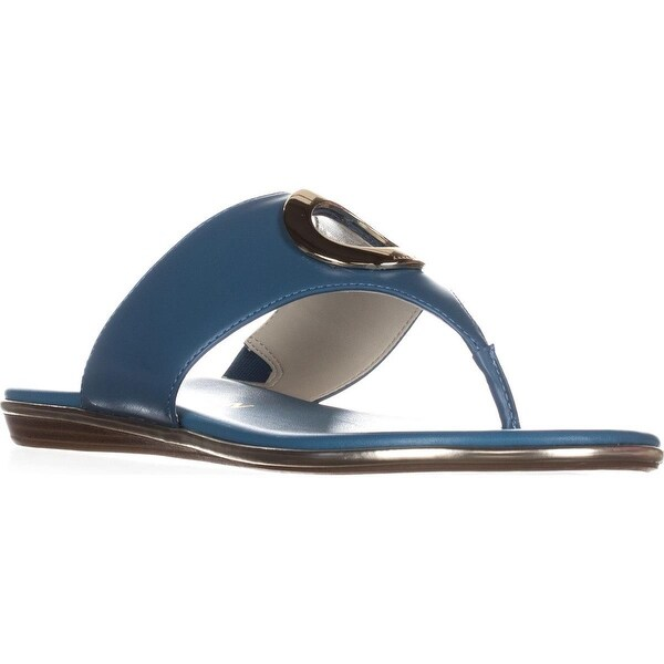 Anne Klein Gia Flip Flops, Medium Blue Leather - 8 us