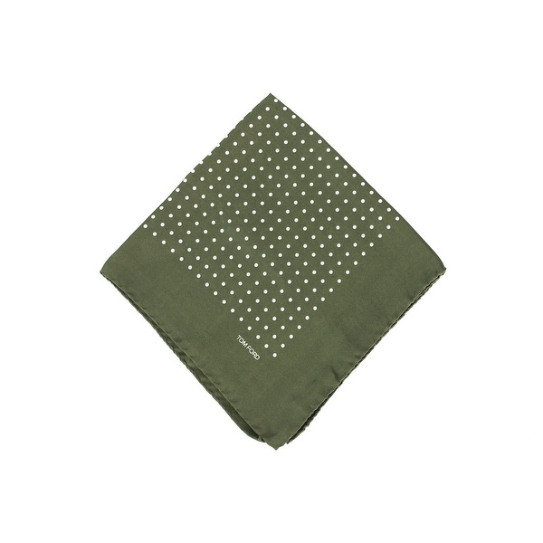 Tom Ford Men's Army Green Polka Dot Silk Pocket Square