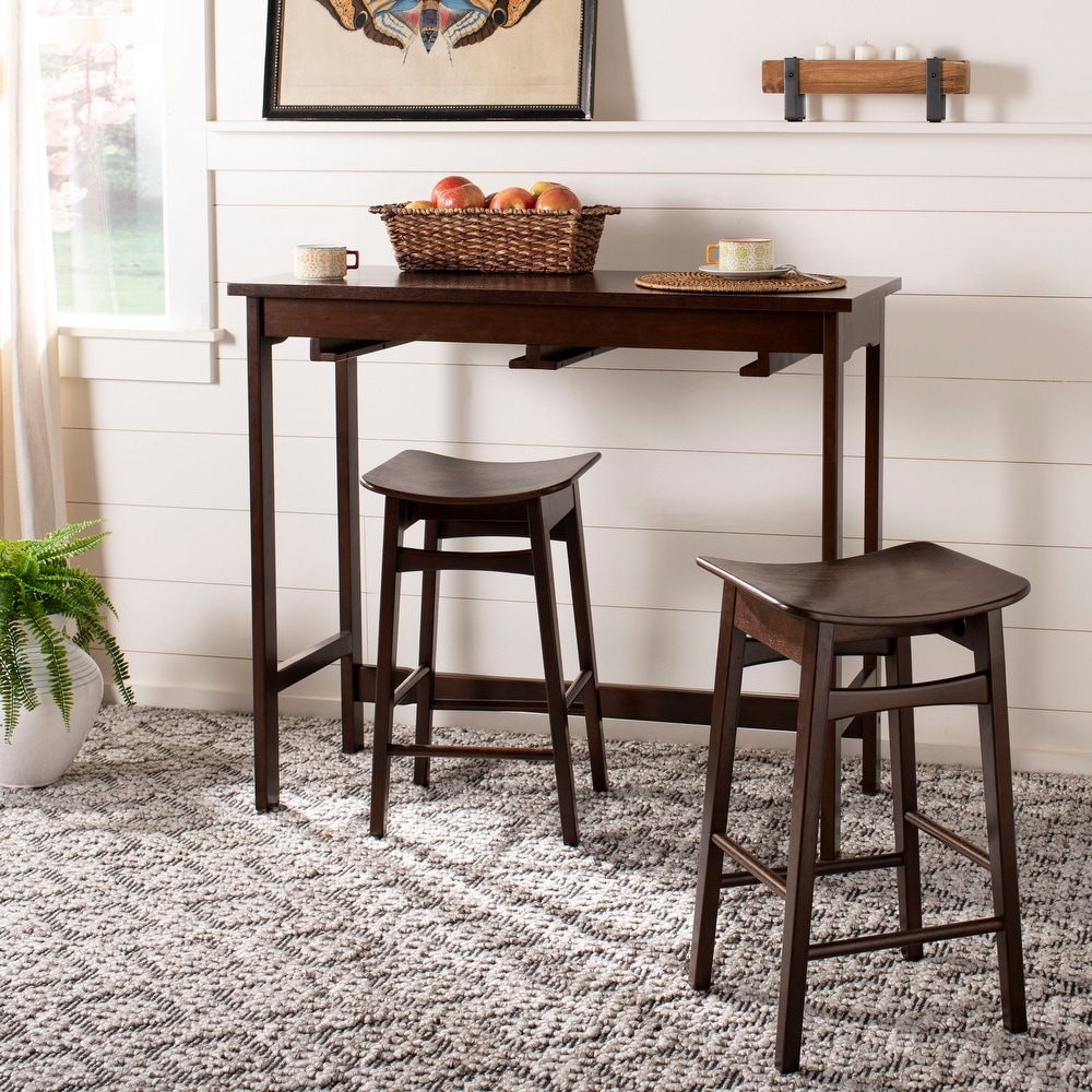 Retro Brown VINGLI 3-Piece Counter Height Pub Table Set Kitchen Bar Dining Table with 2 Upholstered Bar Stools Dining Room Pub Table and Stools with 3 Storage Shelves