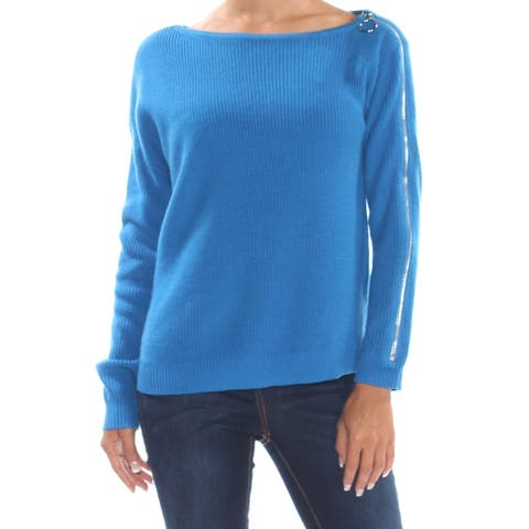 BAR III Womens Blue Zippered Long Sleeve Jewel Neck Sweater Size XS