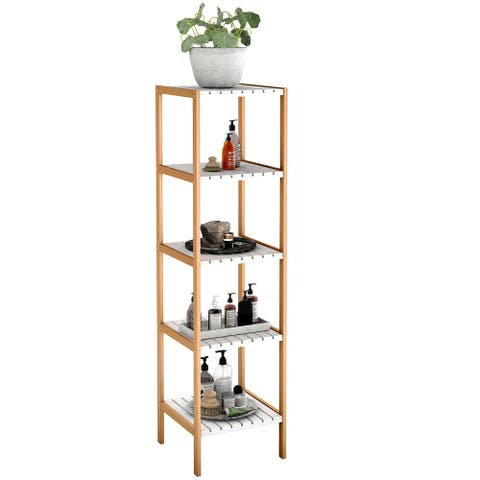 COSTWAY 5-Tier Bamboo Utility Shelves Domestic Storage Freestanding
