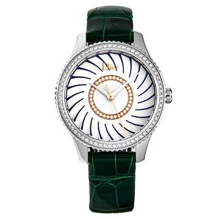 Link to Christian Dior Women's CD152112A001 'Montaigne' Blue/White Diamond Dial Green Strap Swiss Quartz Watch Similar Items in Women's Watches