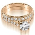 1.30 cttw. 14K Rose Gold Vintage Cathedral Round Cut Diamond Bridal Set - Thumbnail 0