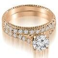 1.80 cttw. 14K Rose Gold Vintage Cathedral Round Cut Diamond Bridal Set - Thumbnail 0