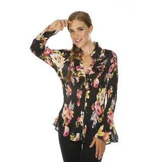 Cathaya Women's Black Pink Floral Print Ruffled Pleated Plus Size Shirt