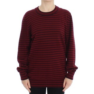 Dolce & Gabbana Red Striped Cashmere Pullover Sweater