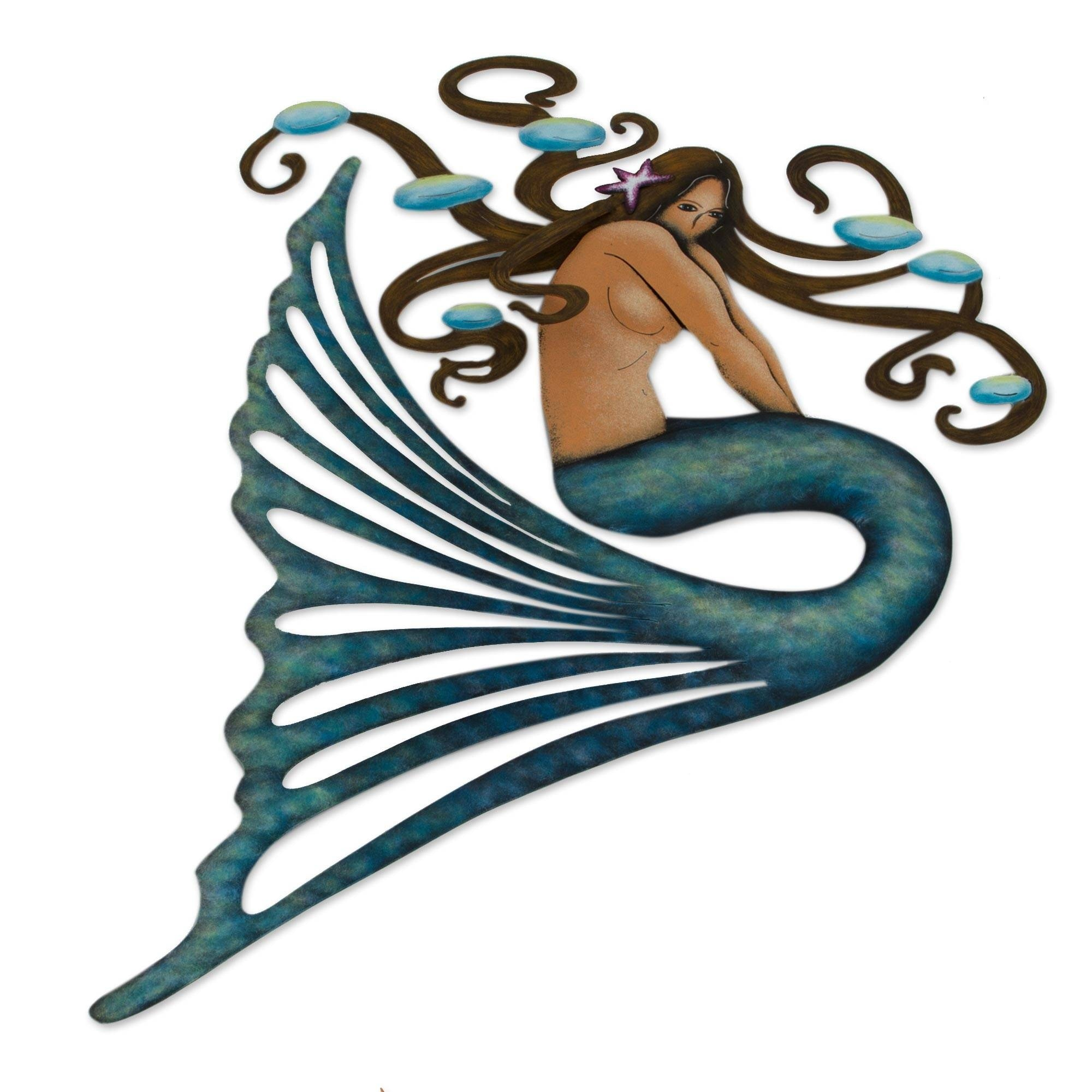 Handmade Shy Mermaid Steel Wall Art Mexico Overstock 31695806