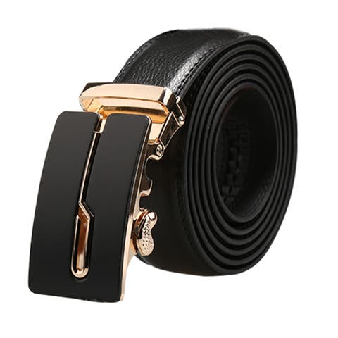 "Men Automatic Buckle Ratchet Large Dress Leather Belt Width 1 3/8"" Black 155cm"