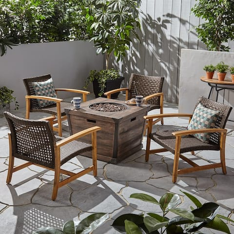 Hampton Outdoor Wood and Wicker Club Chair Set with Fire Pit by Christopher Knight Home
